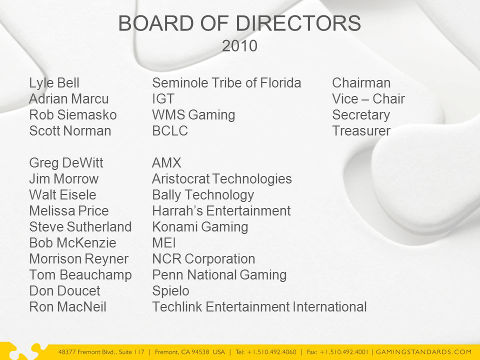 BOARD OF DIRECTORS 2010 Lyle BellSeminole Tribe of FloridaChairman Adrian MarcuIGTVice – Chair Rob SiemaskoWMS GamingSecretary Scott NormanBCLCTreasur