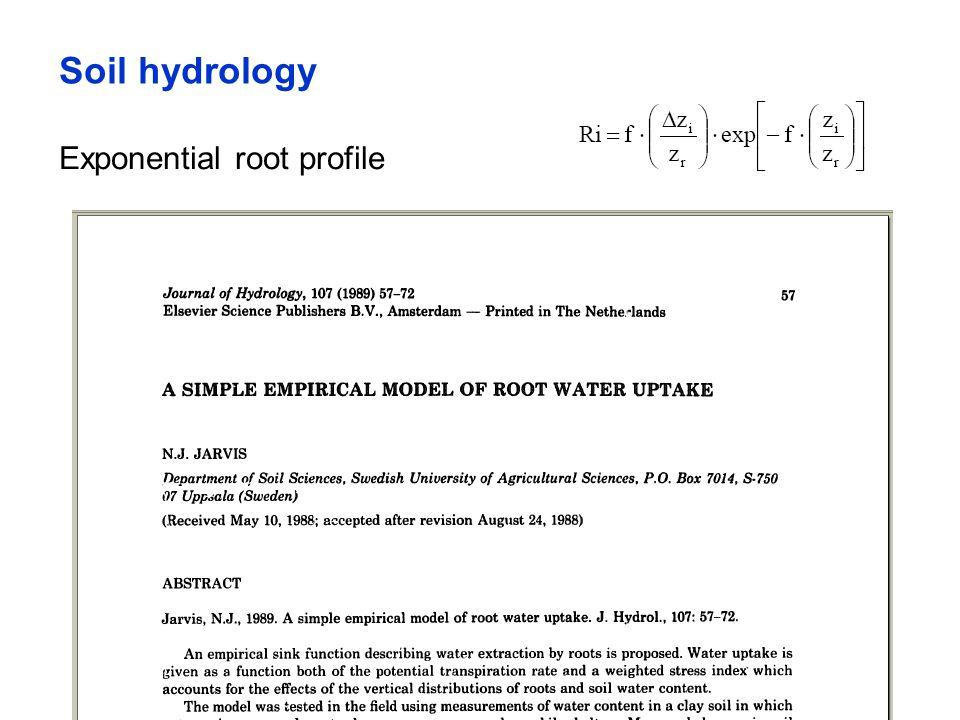 Soil hydrology Exponential root profile
