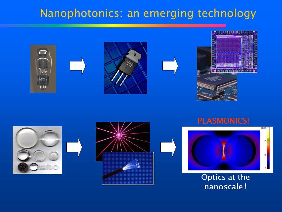 Nanophotonics: an emerging technology Optics at the nanoscale ! PLASMONICS!