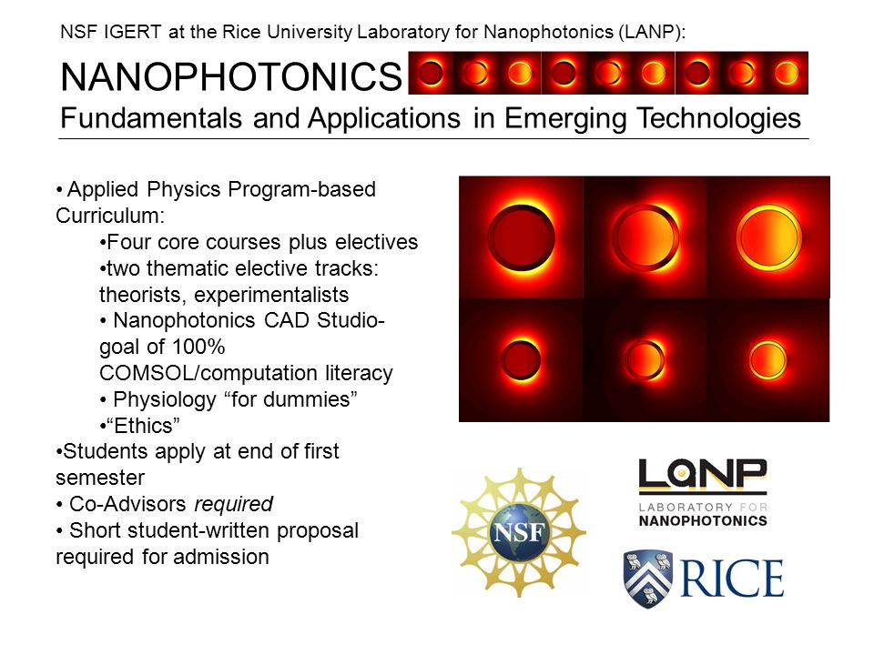 NANOPHOTONICS Fundamentals and Applications in Emerging Technologies NSF IGERT at the Rice University Laboratory for Nanophotonics (LANP): Applied Physics Program-based Curriculum: Four core courses plus electives two thematic elective tracks: theorists, experimentalists Nanophotonics CAD Studio- goal of 100% COMSOL/computation literacy Physiology for dummies Ethics Students apply at end of first semester Co-Advisors required Short student-written proposal required for admission