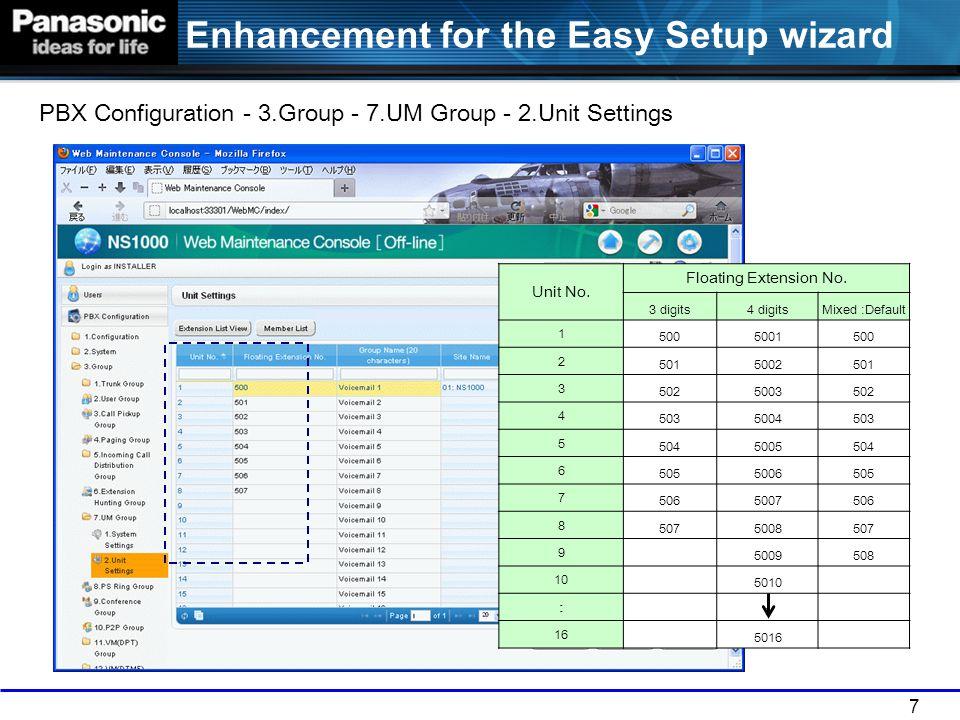 7 Enhancement for the Easy Setup wizard PBX Configuration - 3.Group - 7.UM Group - 2.Unit Settings Unit No. Floating Extension No. 3 digits4 digitsMix