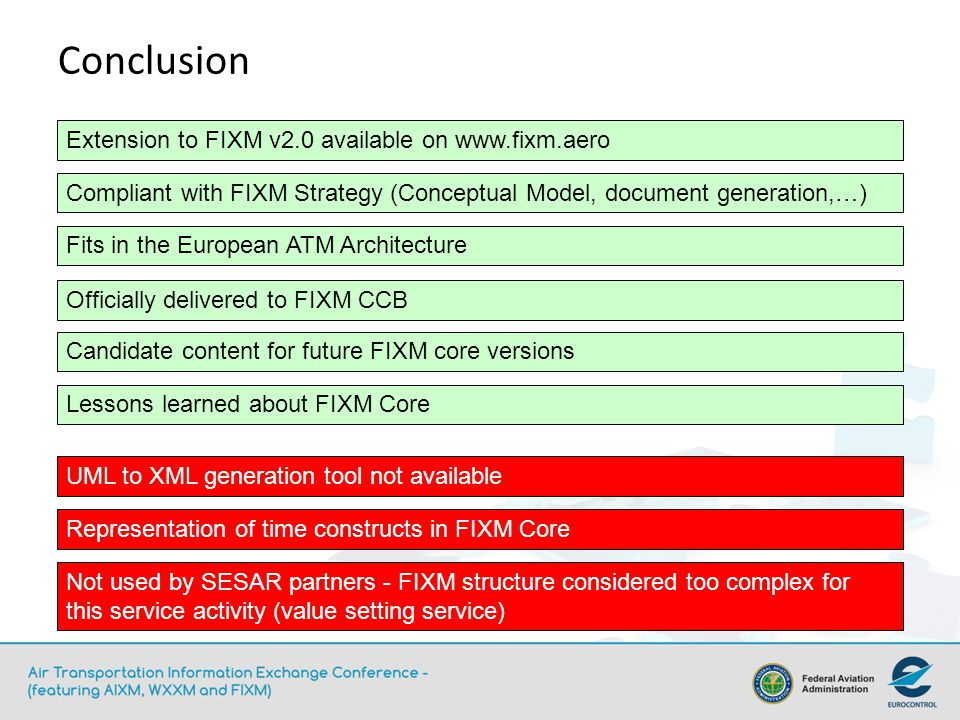 Conclusion Officially delivered to FIXM CCB Compliant with FIXM Strategy (Conceptual Model, document generation,…) Extension to FIXM v2.0 available on   Fits in the European ATM Architecture Lessons learned about FIXM Core Not used by SESAR partners - FIXM structure considered too complex for this service activity (value setting service) UML to XML generation tool not available Representation of time constructs in FIXM Core Candidate content for future FIXM core versions