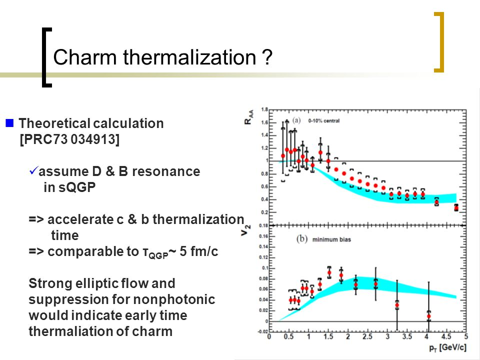 25 Charm thermalization ? Theoretical calculation [PRC73 034913] assume D & B resonance in sQGP => accelerate c & b thermalization time => comparable