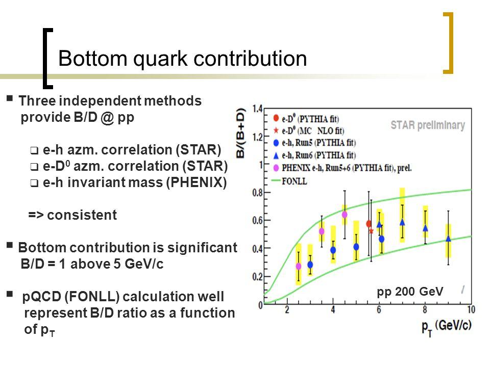 Bottom quark contribution  Three independent methods provide B/D @ pp  e-h azm.