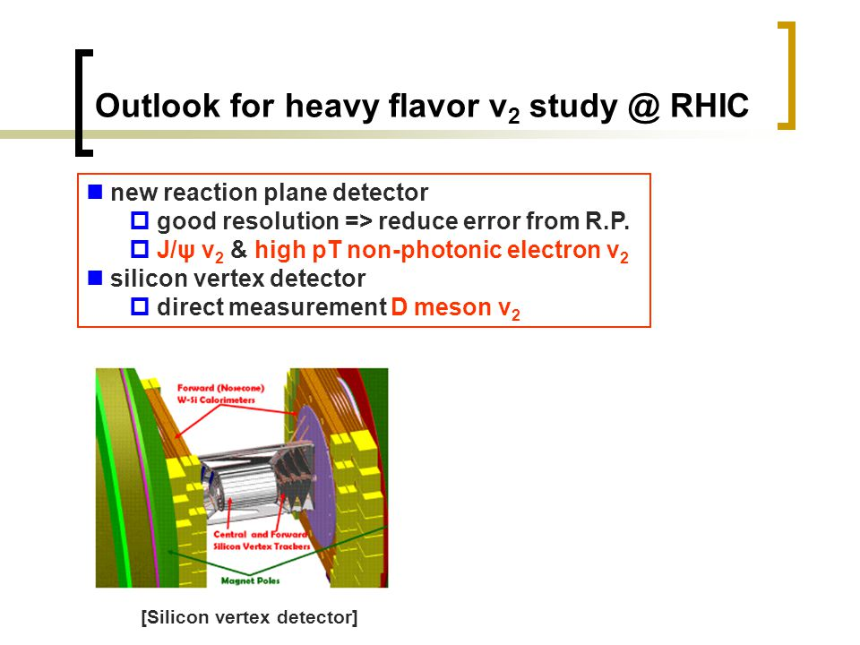 Outlook for heavy flavor v 2 study @ RHIC new reaction plane detector  good resolution => reduce error from R.P.  J/ψ v 2 & high pT non-photonic ele