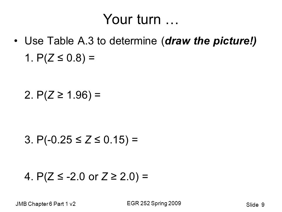 JMB Chapter 6 Part 1 v2 EGR 252 Spring 2009 Slide 9 Your turn … Use Table A.3 to determine (draw the picture!) 1.