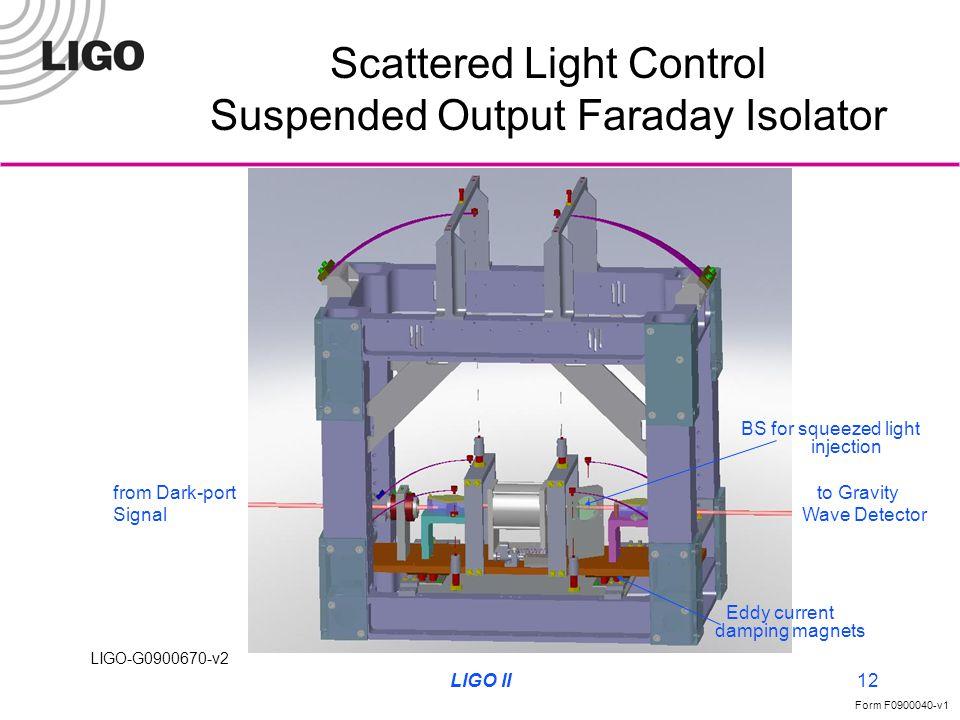 LIGO-G0900670-v2 Form F0900040-v1 LIGO II12 Scattered Light Control Suspended Output Faraday Isolator from Dark-port Signal to Gravity Wave Detector E