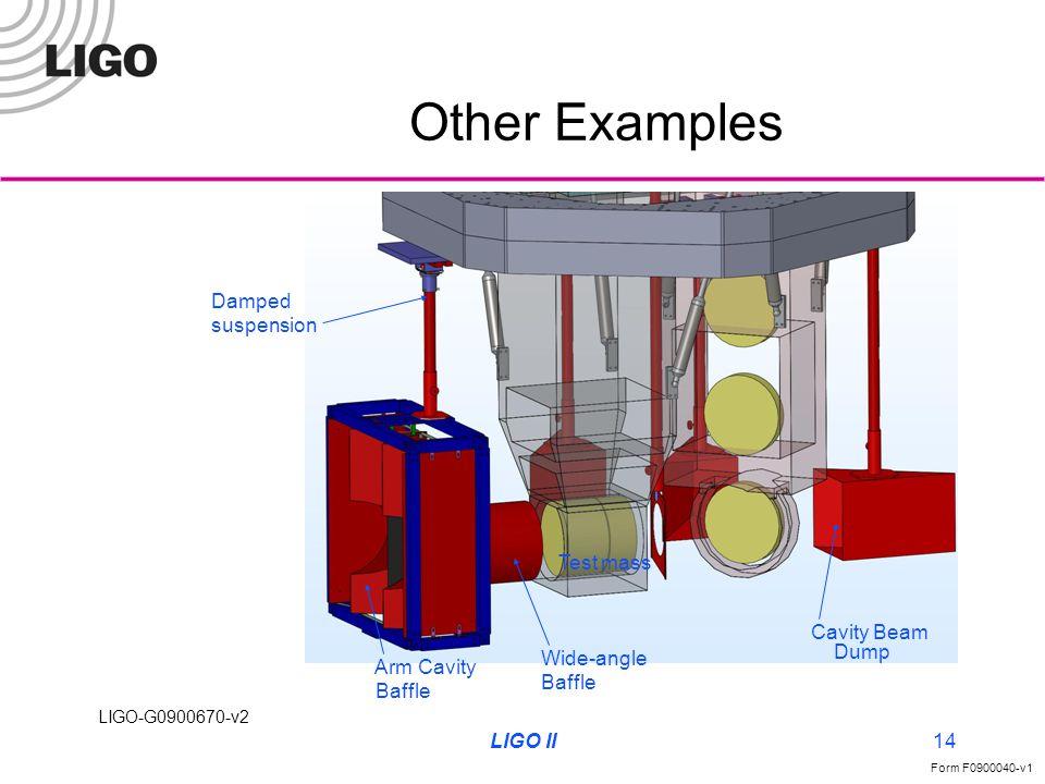 LIGO-G0900670-v2 Form F0900040-v1 LIGO II14 Other Examples Arm Cavity Baffle Wide-angle Baffle Cavity Beam Dump Damped suspension Test mass