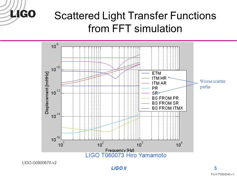 LIGO-G0900670-v2 Form F0900040-v1 LIGO II5 Scattered Light Transfer Functions from FFT simulation LIGO T060073 Hiro Yamamoto Worse scatter paths