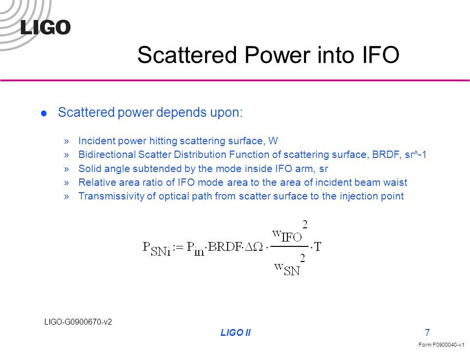 LIGO-G0900670-v2 Form F0900040-v1 LIGO II7 Scattered Power into IFO Scattered power depends upon: »Incident power hitting scattering surface, W »Bidir