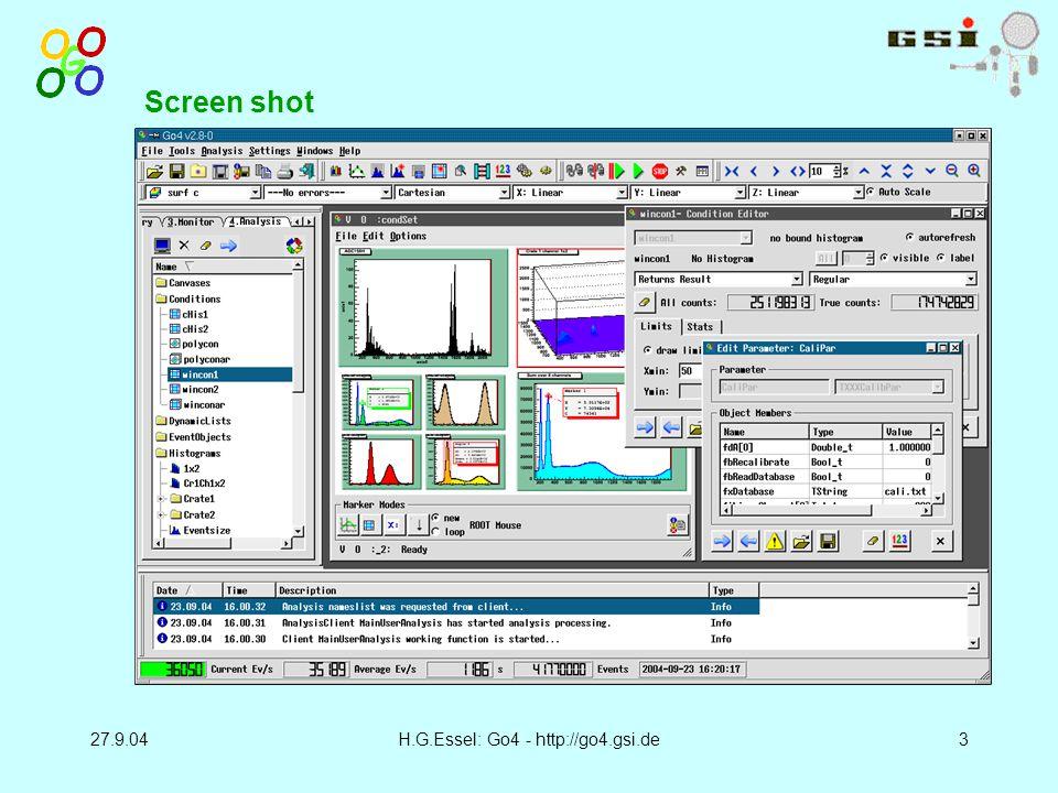 27.9.04H.G.Essel: Go4 - http://go4.gsi.de3 Screen shot
