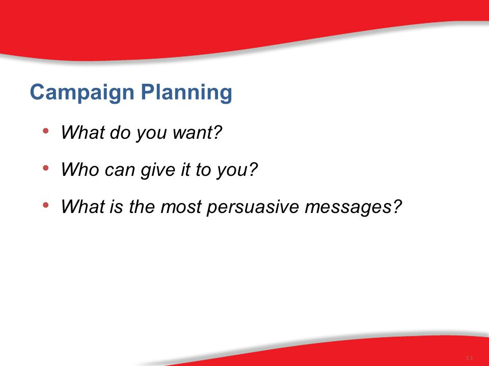 Campaign Planning What do you want. Who can give it to you.