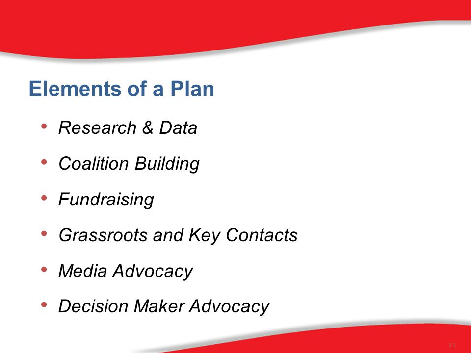 Elements of a Plan Research & Data Coalition Building Fundraising Grassroots and Key Contacts Media Advocacy Decision Maker Advocacy 12