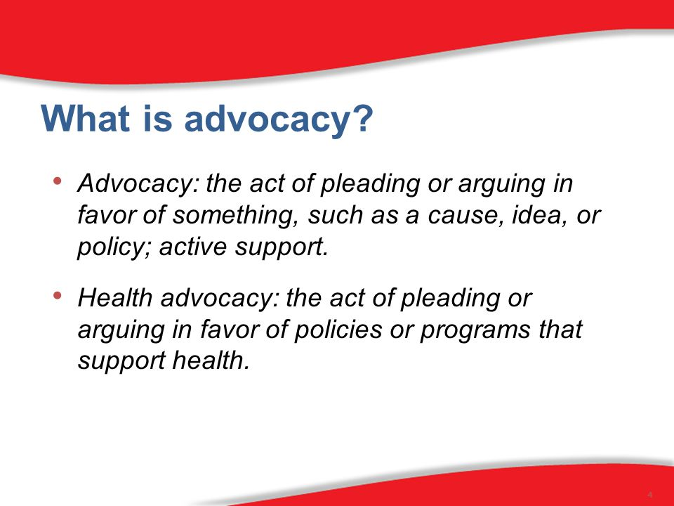 Advocacy: the act of pleading or arguing in favor of something, such as a cause, idea, or policy; active support.