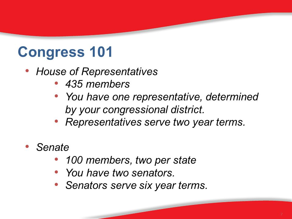 Congress 101 House of Representatives 435 members You have one representative, determined by your congressional district.