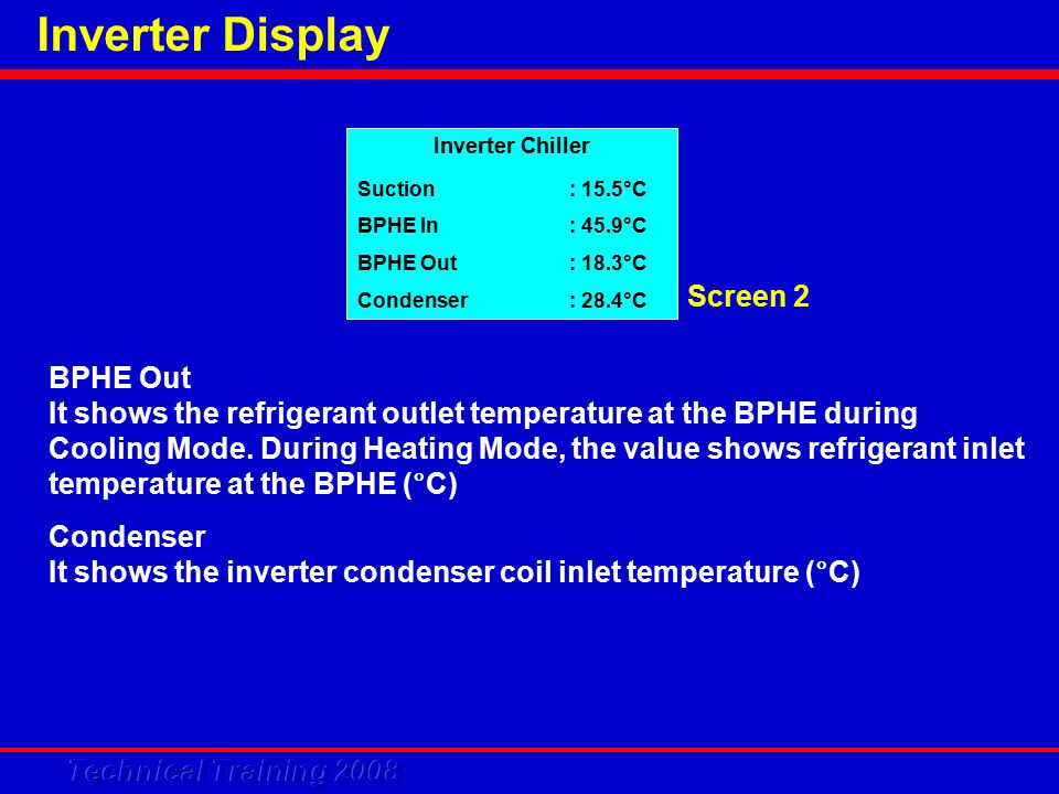 Inverter Display BPHE Out It shows the refrigerant outlet temperature at the BPHE during Cooling Mode.