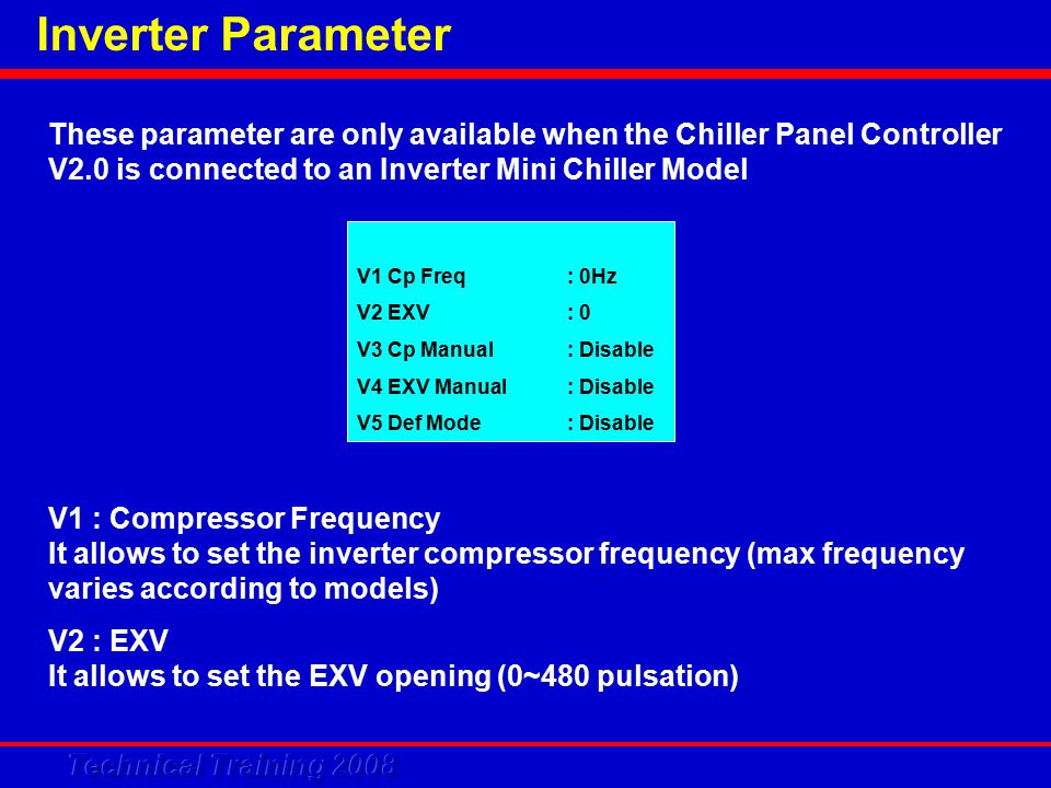 These parameter are only available when the Chiller Panel Controller V2.0 is connected to an Inverter Mini Chiller Model V1 Cp Freq: 0Hz V2 EXV: 0 V3 Cp Manual: Disable V4 EXV Manual: Disable V5 Def Mode: Disable V1 : Compressor Frequency It allows to set the inverter compressor frequency (max frequency varies according to models) V2 : EXV It allows to set the EXV opening (0~480 pulsation)
