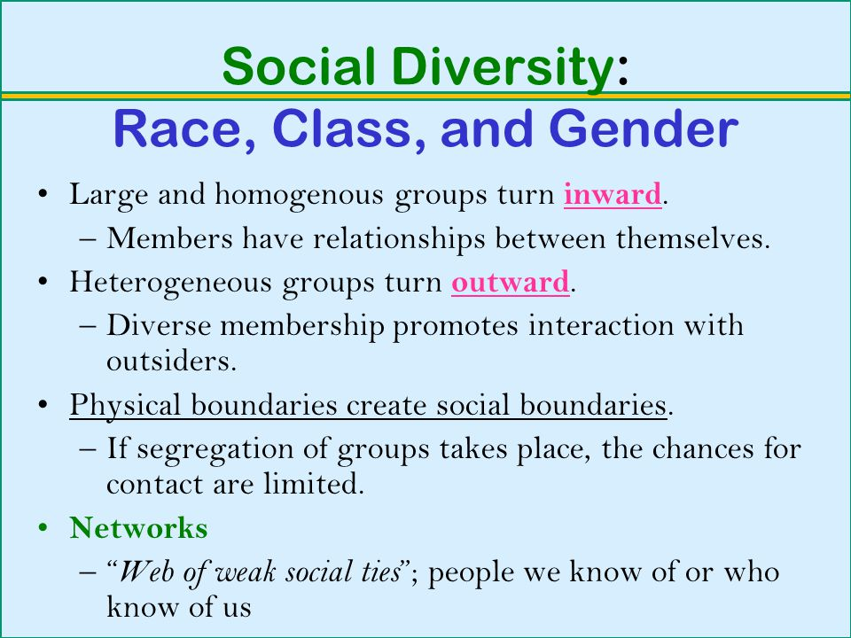 Social Diversity: Race, Class, and Gender Large and homogenous groups turn inward.
