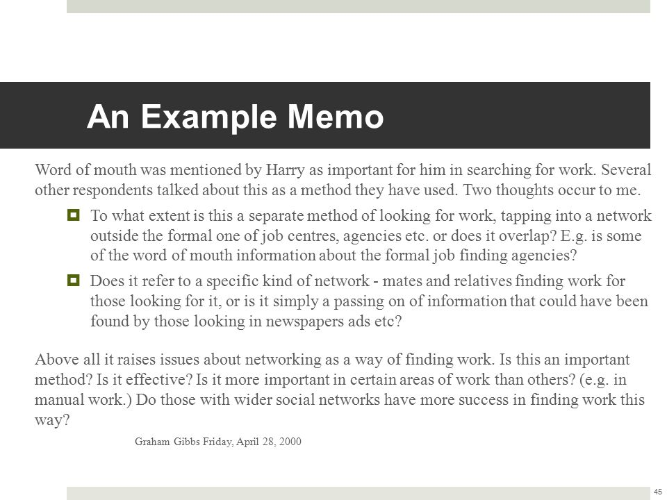 An Example Memo Word of mouth was mentioned by Harry as important for him in searching for work. Several other respondents talked about this as a meth