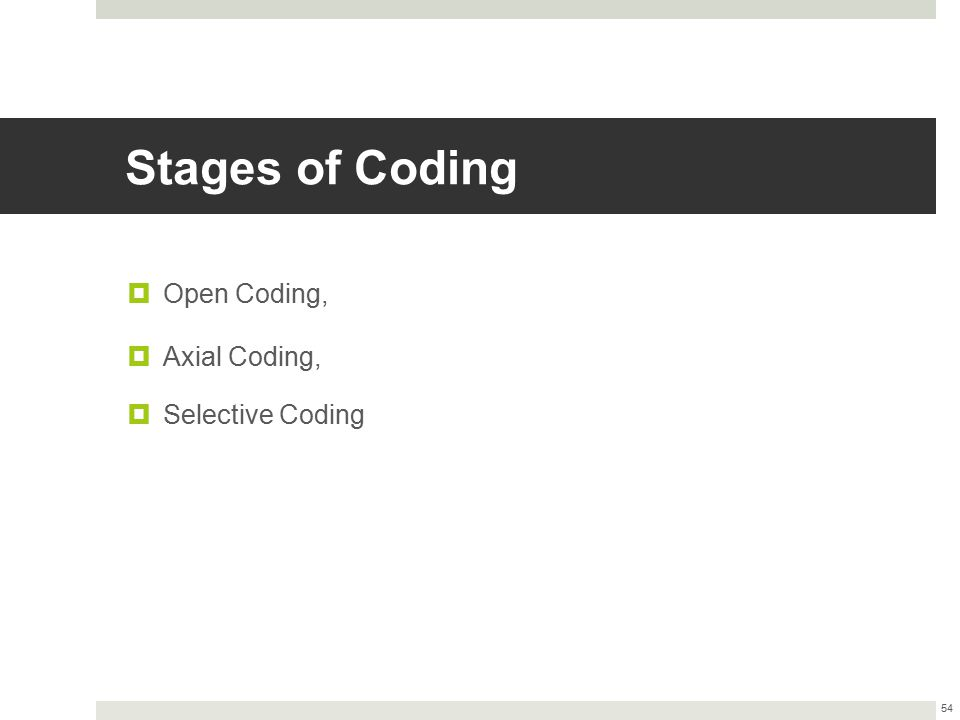 Stages of Coding  Open Coding,  Axial Coding,  Selective Coding 54