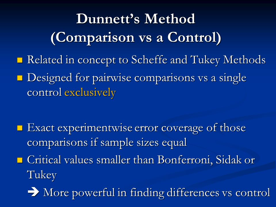 Dunnett's Method (Comparison vs a Control) Related in concept to Scheffe and Tukey Methods Related in concept to Scheffe and Tukey Methods Designed for pairwise comparisons vs a single control exclusively Designed for pairwise comparisons vs a single control exclusively Exact experimentwise error coverage of those comparisons if sample sizes equal Exact experimentwise error coverage of those comparisons if sample sizes equal Critical values smaller than Bonferroni, Sidak or Tukey Critical values smaller than Bonferroni, Sidak or Tukey  More powerful in finding differences vs control