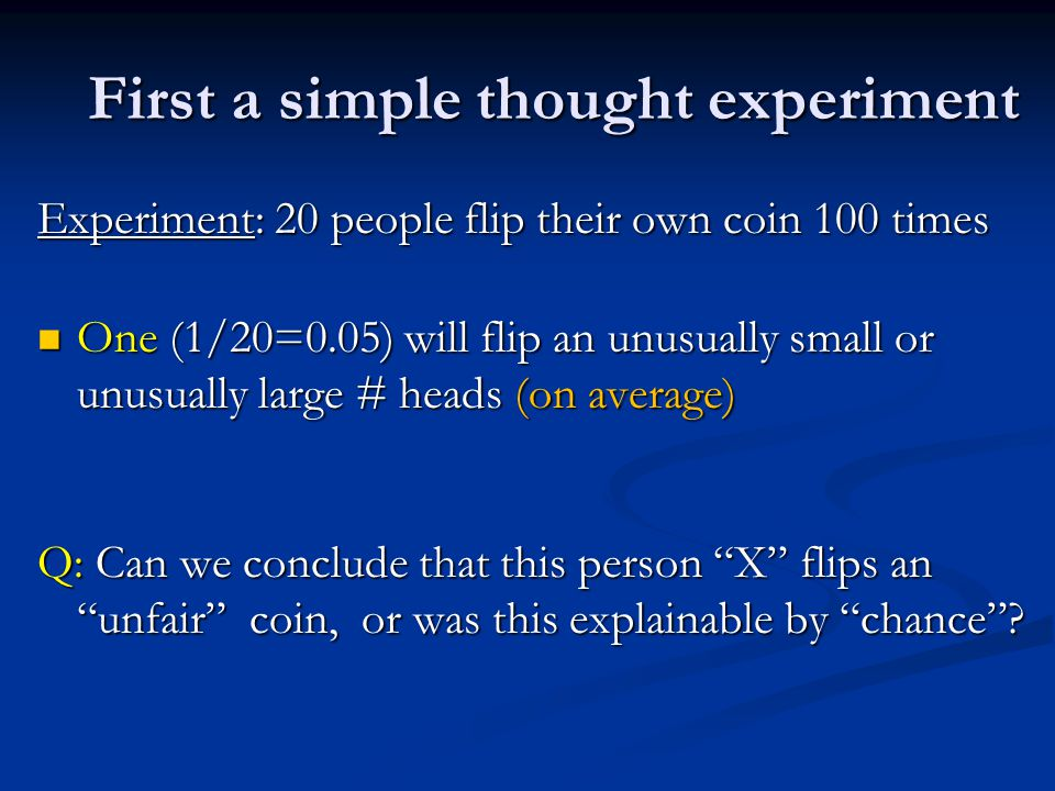 First a simple thought experiment Experiment: 20 people flip their own coin 100 times One (1/20=0.05) will flip an unusually small or unusually large # heads (on average) One (1/20=0.05) will flip an unusually small or unusually large # heads (on average) Q: Can we conclude that this person X flips an unfair coin, or was this explainable by chance