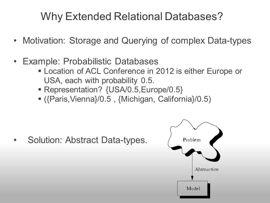 User defined Abstract Data-types, o Register with Database - System aware of its size and functions.