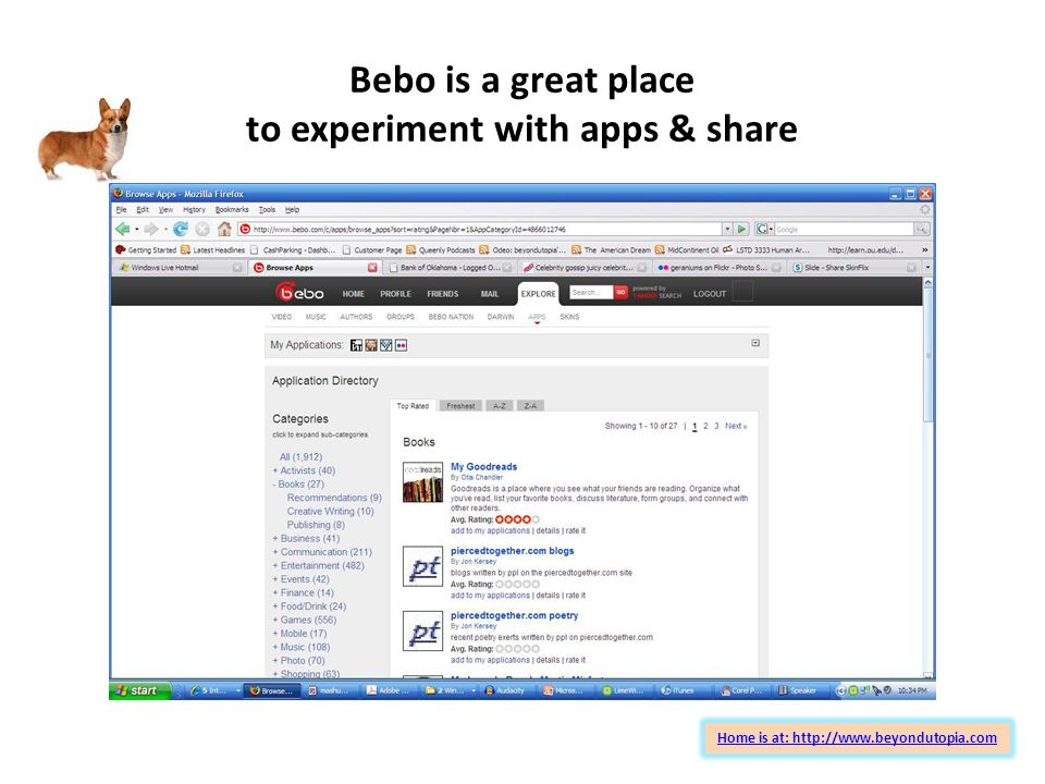 Bebo is a great place to experiment with apps & share Home is at: http://www.beyondutopia.com