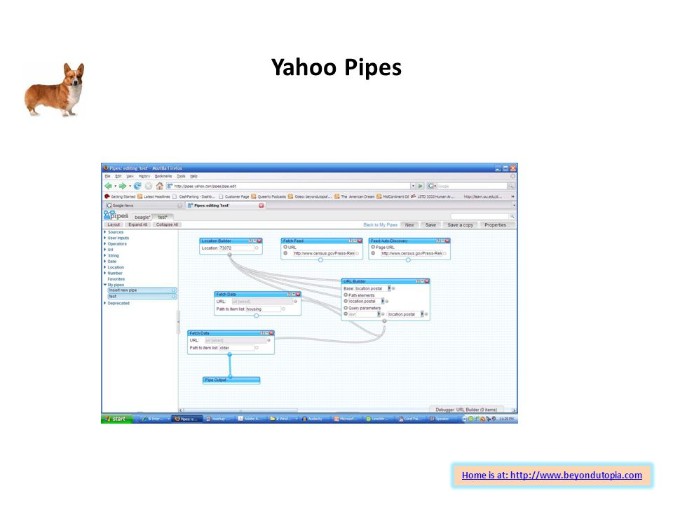 Yahoo Pipes Home is at: http://www.beyondutopia.com