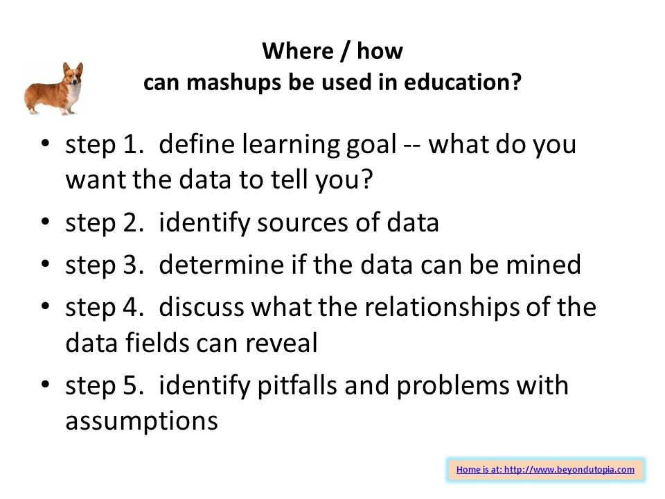 Where / how can mashups be used in education. step 1.