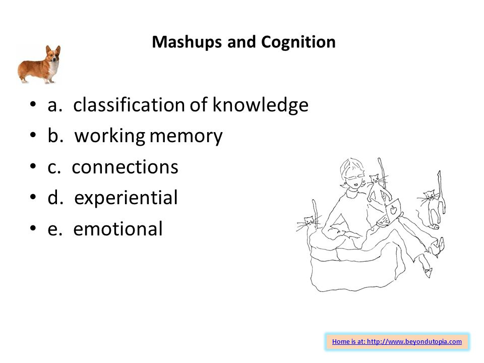 Mashups and Cognition a. classification of knowledge b.