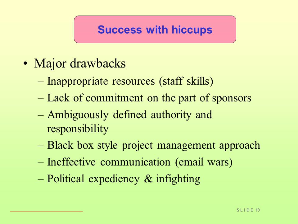 S L I D E 19 Success with hiccups Major drawbacks –Inappropriate resources (staff skills) –Lack of commitment on the part of sponsors –Ambiguously defined authority and responsibility –Black box style project management approach –Ineffective communication (email wars) –Political expediency & infighting