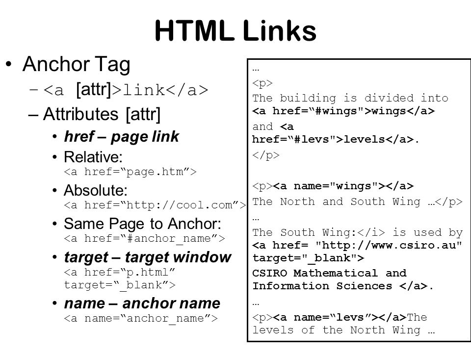 HTML Links Anchor Tag – link –Attributes [attr] href – page link Relative: Absolute: Same Page to Anchor: target – target window name – anchor name … The building is divided into wings and levels.