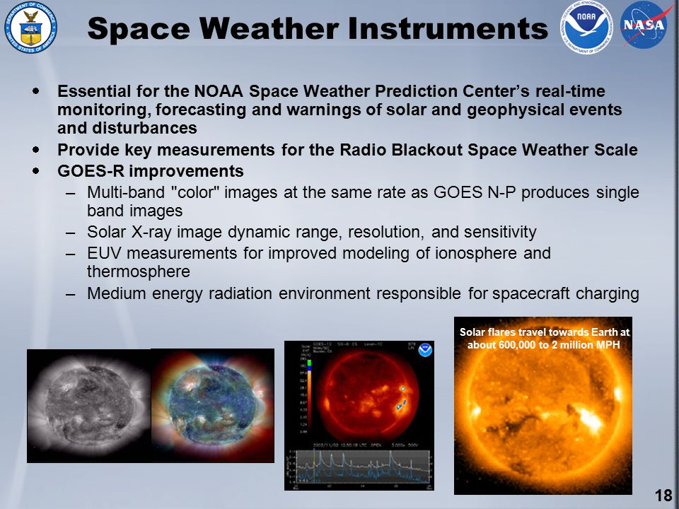 18 Space Weather Instruments  Essential for the NOAA Space Weather Prediction Center's real-time monitoring, forecasting and warnings of solar and geophysical events and disturbances  Provide key measurements for the Radio Blackout Space Weather Scale  GOES-R improvements –Multi-band color images at the same rate as GOES N-P produces single band images –Solar X-ray image dynamic range, resolution, and sensitivity –EUV measurements for improved modeling of ionosphere and thermosphere –Medium energy radiation environment responsible for spacecraft charging Solar flares travel towards Earth at about 600,000 to 2 million MPH