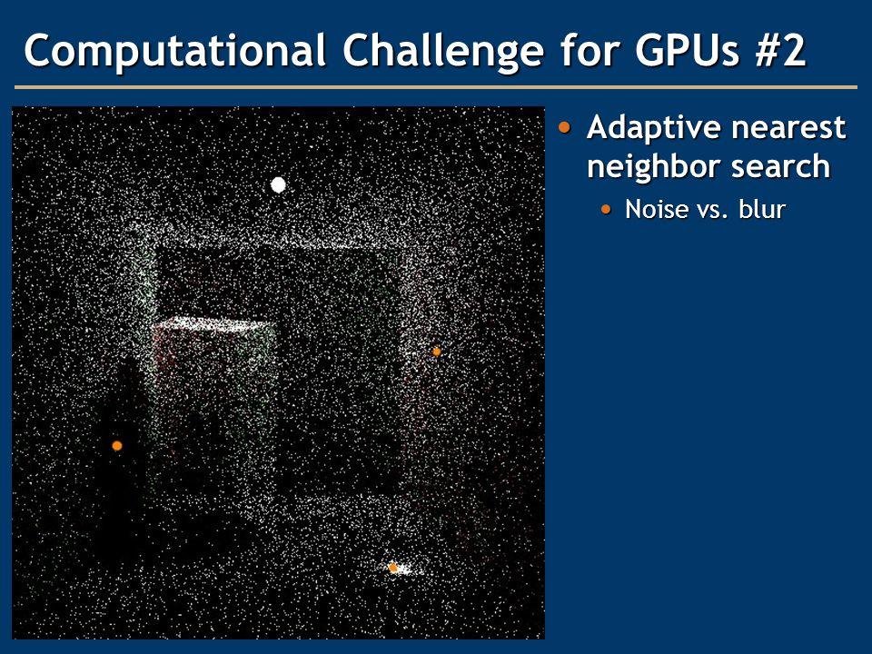 Computational Challenge for GPUs #2 Adaptive nearest neighbor search Adaptive nearest neighbor search Noise vs. blur Noise vs. blur