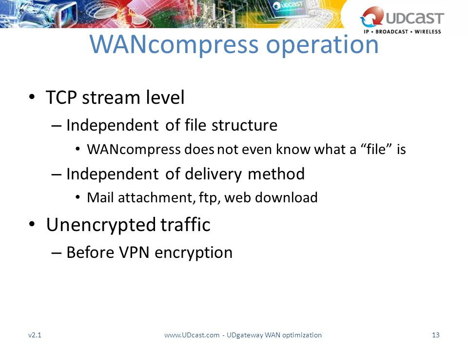 "WANcompress operation TCP stream level – Independent of file structure WANcompress does not even know what a ""file"" is – Independent of delivery metho"