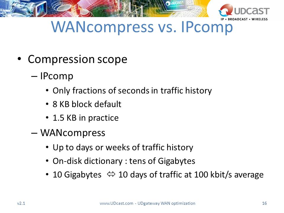 WANcompress vs. IPcomp Compression scope – IPcomp Only fractions of seconds in traffic history 8 KB block default 1.5 KB in practice – WANcompress Up