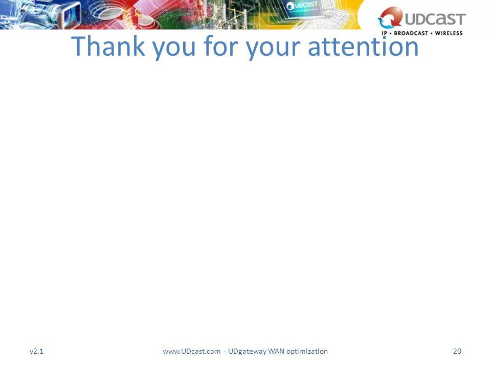 v2.1www.UDcast.com - UDgateway WAN optimization20 Thank you for your attention