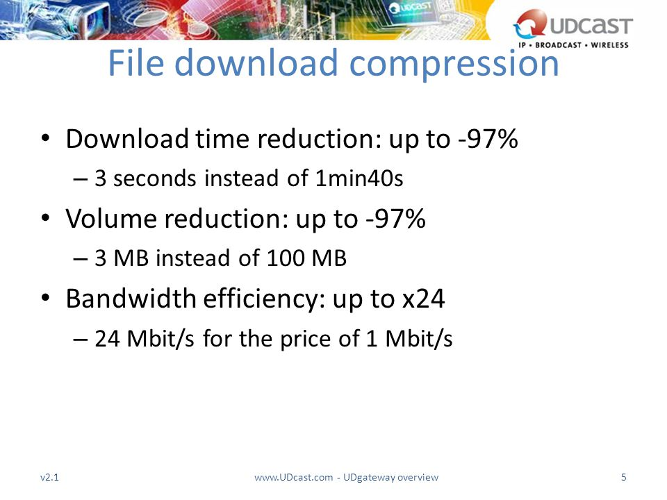 File download compression Download time reduction: up to -97% – 3 seconds instead of 1min40s Volume reduction: up to -97% – 3 MB instead of 100 MB Ban