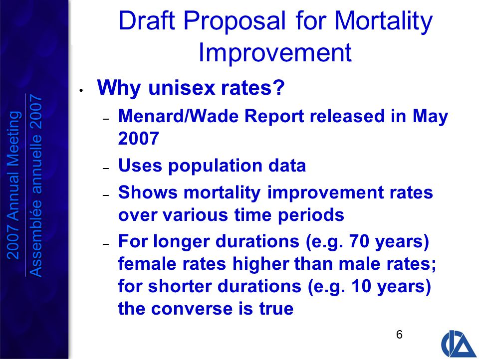 6 Draft Proposal for Mortality Improvement Why unisex rates.