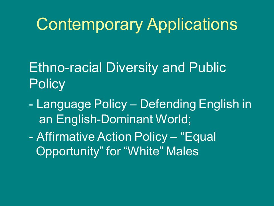 Contemporary Applications Ethno-racial Diversity and Public Policy - Language Policy – Defending English in an English-Dominant World; - Affirmative A