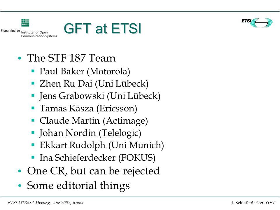 I. Schieferdecker: GFTETSI MTS#34 Meeting, Apr 2002, Rome GFT at ETSI The STF 187 Team  Paul Baker (Motorola)  Zhen Ru Dai (Uni Lübeck)  Jens Grabo