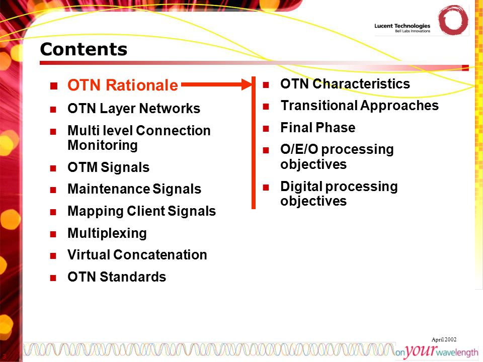 3 April 2002 Contents OTN Rationale OTN Layer Networks Multi level Connection Monitoring OTM Signals Maintenance Signals Mapping Client Signals Multip