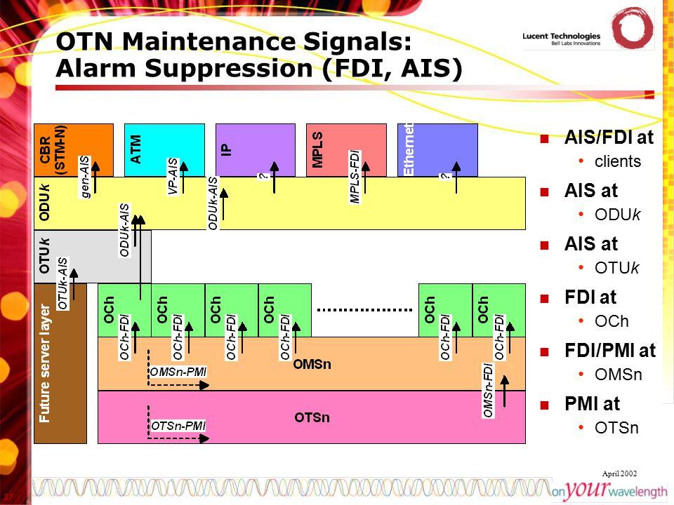 37 April 2002 OTN Maintenance Signals: Alarm Suppression (FDI, AIS) AIS/FDI at clients AIS at ODUk AIS at OTUk FDI at OCh FDI/PMI at OMSn PMI at OTSn