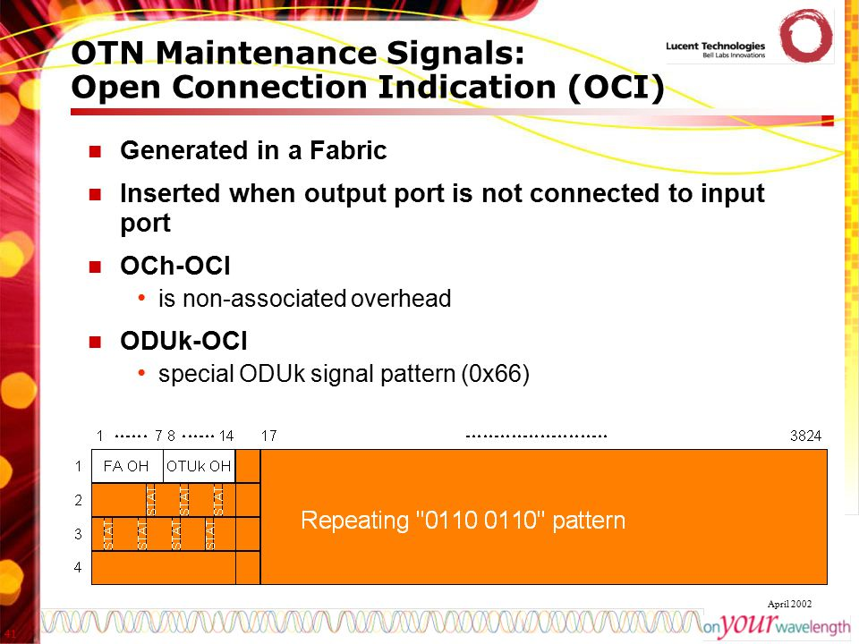 41 April 2002 OTN Maintenance Signals: Open Connection Indication (OCI) Generated in a Fabric Inserted when output port is not connected to input port