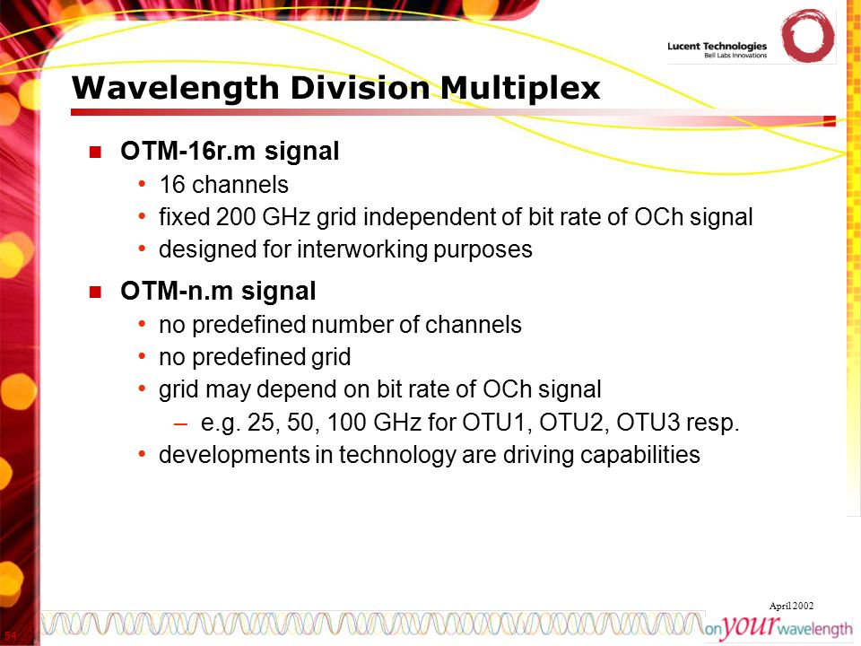 54 April 2002 Wavelength Division Multiplex OTM-16r.m signal 16 channels fixed 200 GHz grid independent of bit rate of OCh signal designed for interwo