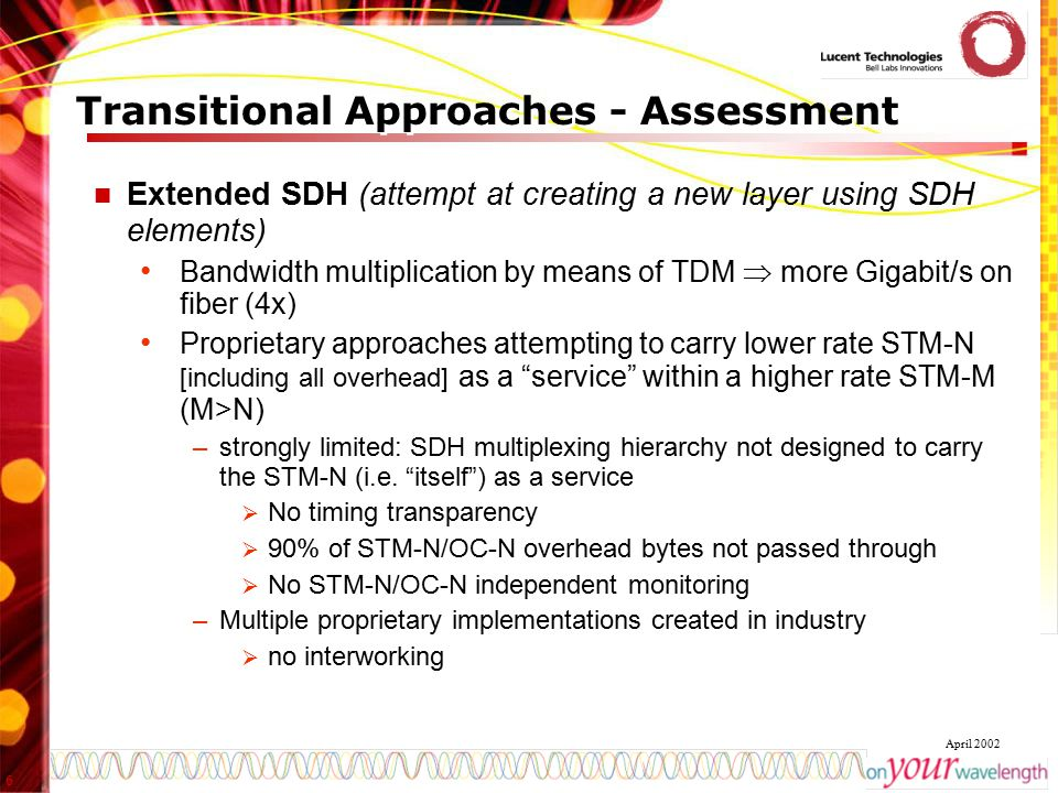 6 April 2002 Transitional Approaches - Assessment Extended SDH (attempt at creating a new layer using SDH elements) Bandwidth multiplication by means