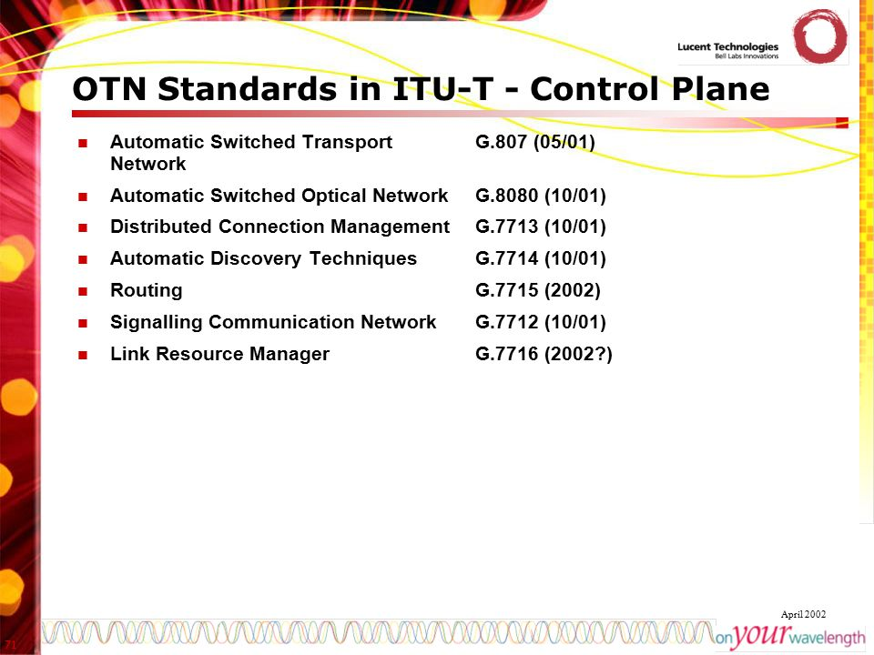 71 April 2002 OTN Standards in ITU-T - Control Plane Automatic Switched Transport Network Automatic Switched Optical Network Distributed Connection Ma