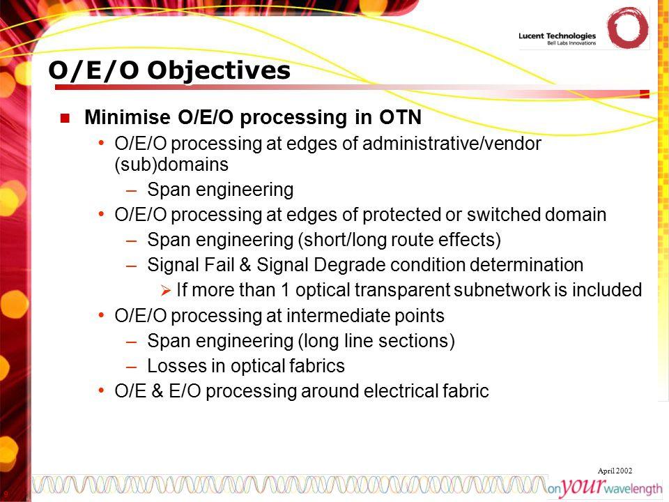 9 April 2002 O/E/O Objectives Minimise O/E/O processing in OTN O/E/O processing at edges of administrative/vendor (sub)domains –Span engineering O/E/O
