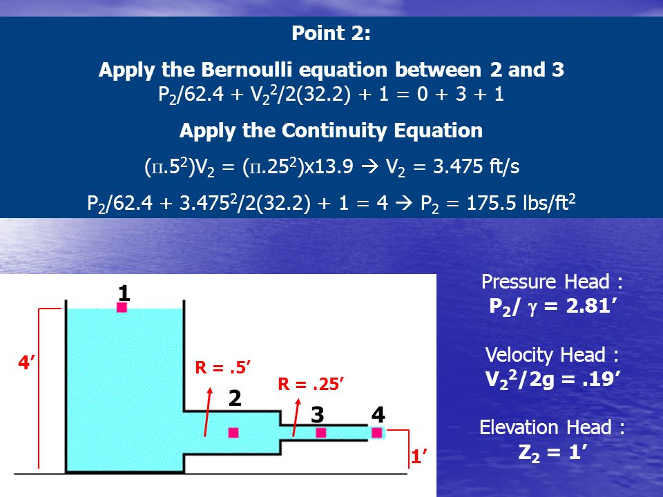 1 2 34 1' 4' Point 2: Apply the Bernoulli equation between 2 and 3 P 2 /62.4 + V 2 2 /2(32.2) + 1 = 0 + 3 + 1 Apply the Continuity Equation ( .5 2 )V